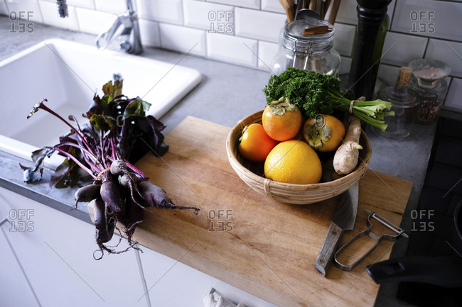 High angle view of fruits and vegetables on kitchen counter