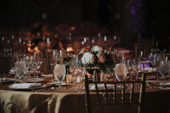 Place setting on dining table at restaurant