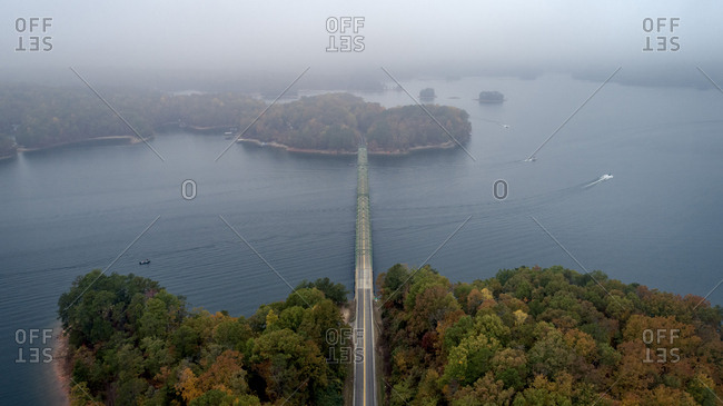 Aerial view of Browns Bridge over Lake Sidney Lanier during foggy weather