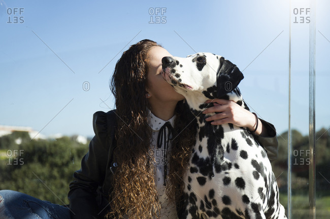 Woman kissing Dalmatian while sitting against clear sky at park