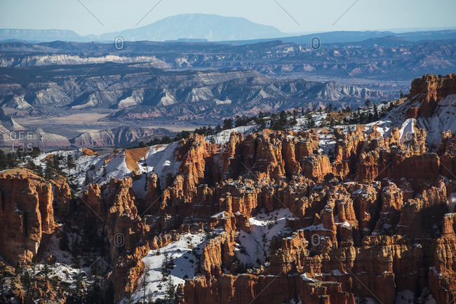High angle view of dramatic landscape against sky at Bryce Canyon National Park