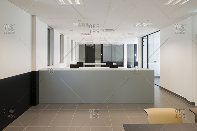 Clean modern open plan office interior space