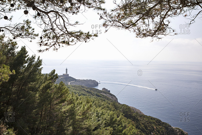 Scenic view of lighthouse and boat on the Italian island of Capri
