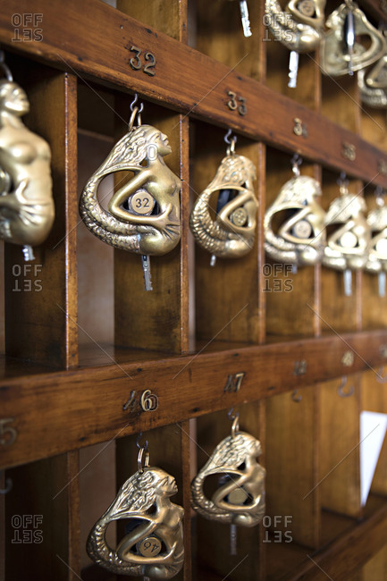 Keys to hotel rooms shaped like mermaids