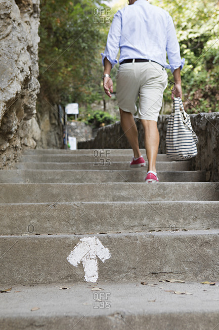 Person walking up outdoor stairs in Positano, Italy