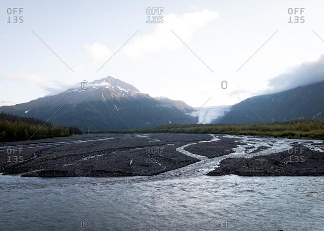 Glacial run off steams feeding into a larger river in Seward Alaska.
