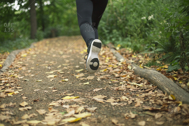 Athletic young woman jogging on footpath in forest during autumn