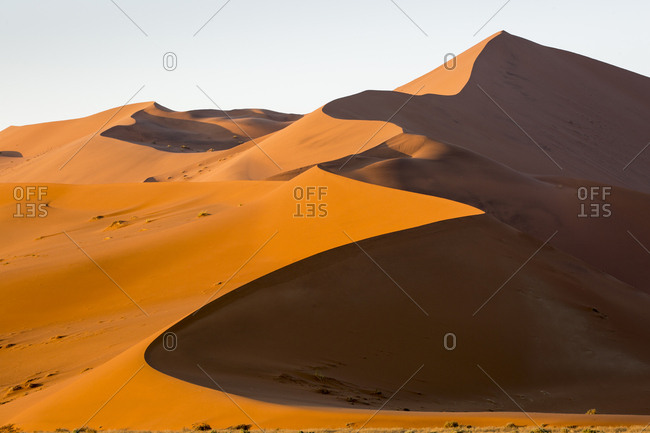 Africa, Namibia, Namib Naukluft National Park, Windblown red sand dunes in Namib Desert near Sossusvlei