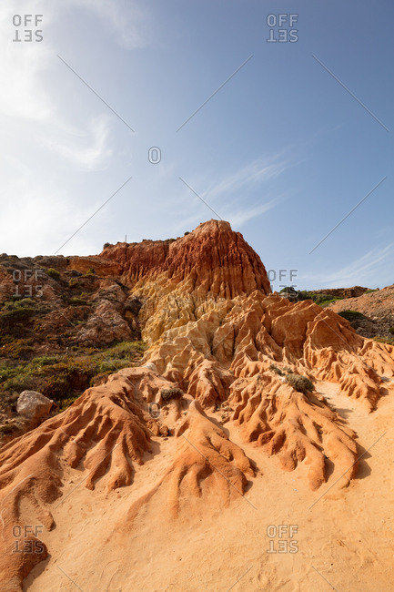 Rock formations along the beach in Portugal