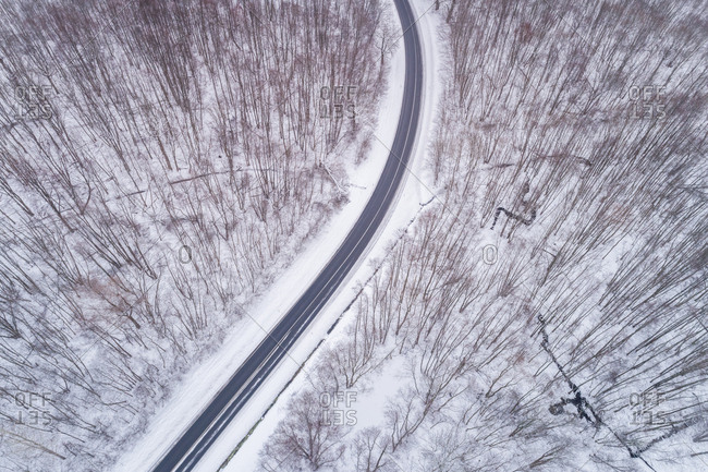 Aerial view of an empty road in the middle of the forest in winter, Estonia