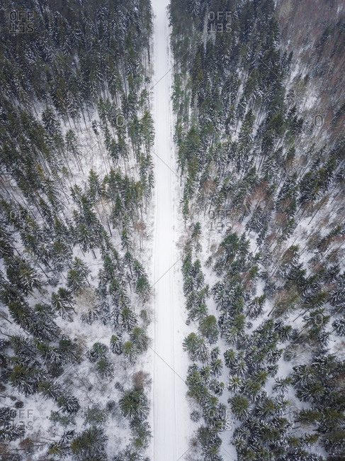 Aerial view of an empty road covered with snow in the nordic forest, Estonia