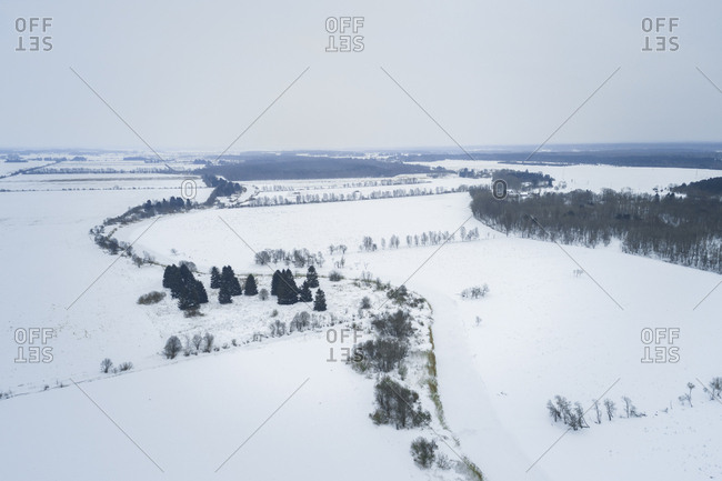 Aerial view of nordic snowy landscape, Estonia