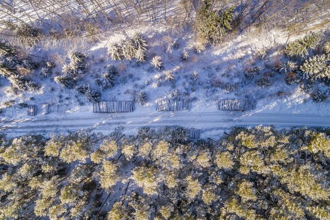 Aerial view of logging under the snow in Liikva, Estonia