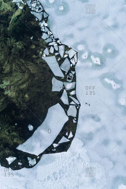 Abstract aerial view of the frozen sea in Muraste, Estonia