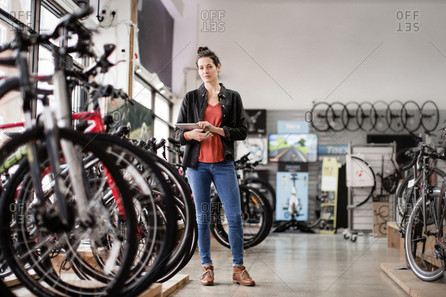 Portrait of a small business owner in a bicycle store