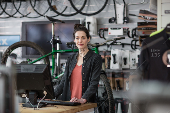 Portrait of small business owner in a bike store