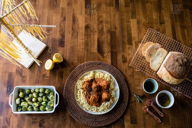 Fresh cooked spaghetti dinner from scratch and sides