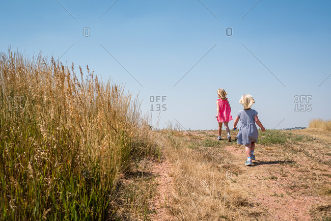 Two girls looking for bugs for their bug collections