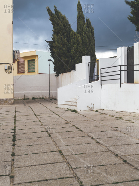 Entryway to a block of apartments in Tarifa village suburbs on a cloudy day