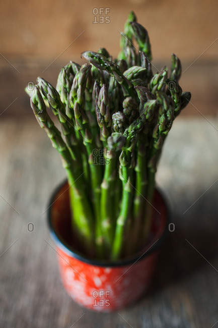 Asparagus in a red pot