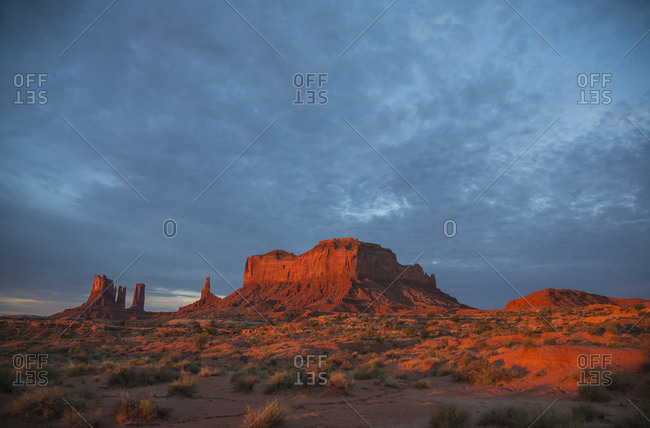 Low sun illuminating the buttes of Monument Valley, Utah