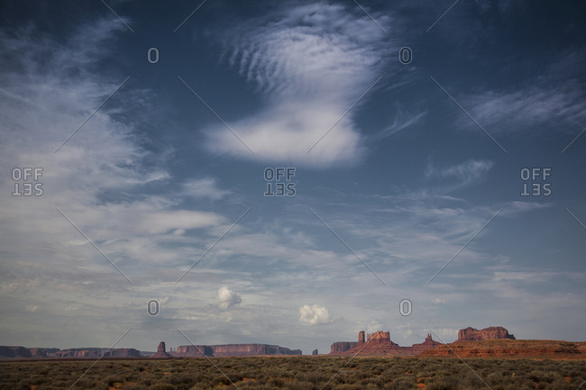 Wide angle view of the buttes of Monument Valley, Utah