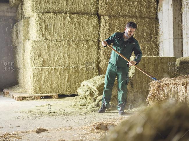 Farmer working with straw on a farm