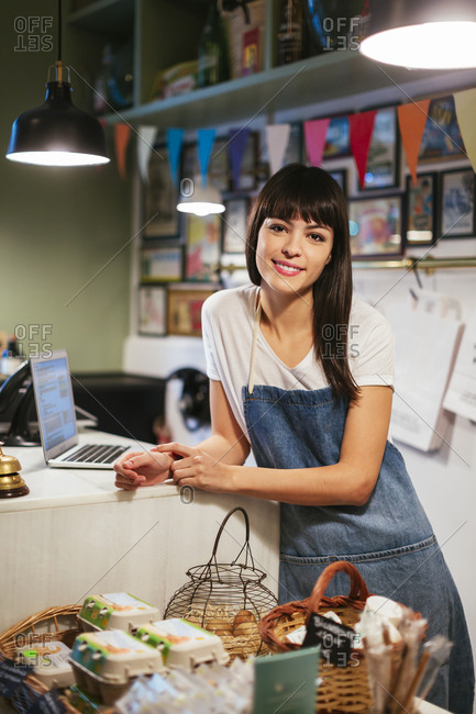 Portrait of smiling woman in a store