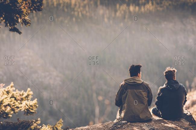 Canada- British Columbia- Kelowna- Myra Canyon- hikers resting at Kettle Valley Rail Trail