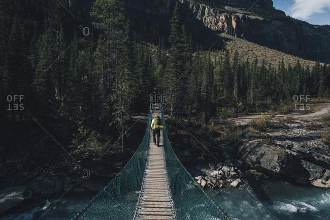 Canada- British Columbia- Mount Robson Provincial Park- man on swinging bridge on Berg Lake Trail