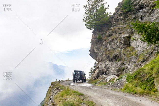 Italy- Piemont- West Alps- car on Colle dell'Assietta