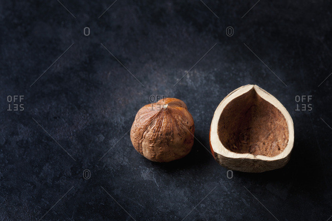 Hazelnut and shell on dark ground
