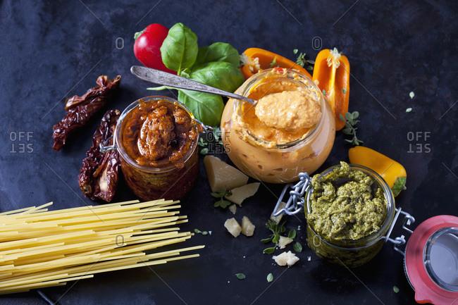 Various sorts of pesto