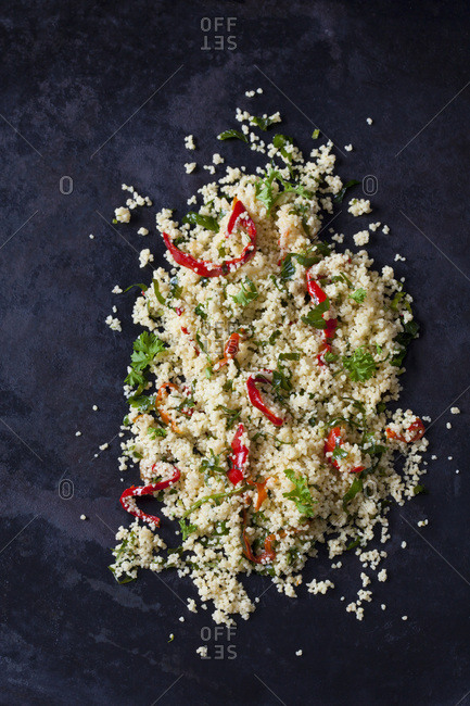 Couscous salad on dark ground