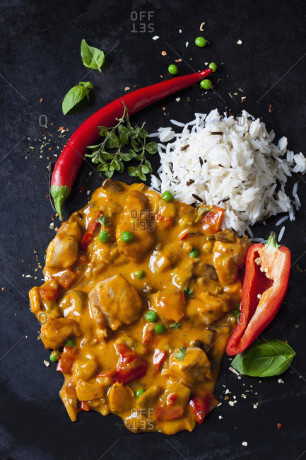 Thai Curry with chicken filets and basmati rice