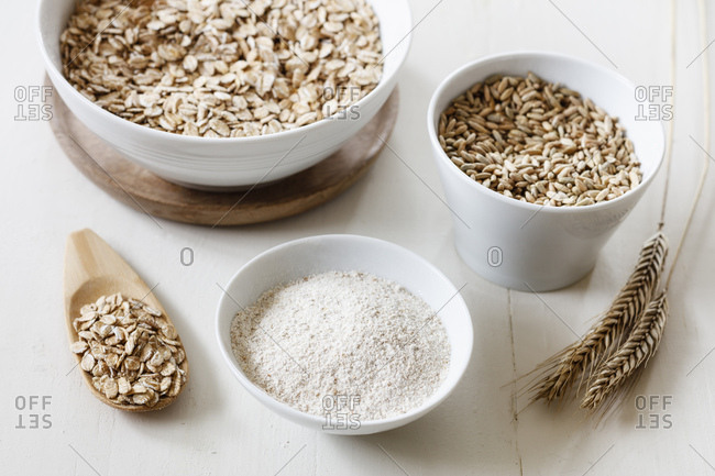 Rye ears- rye flakes- rye flour and rye grains