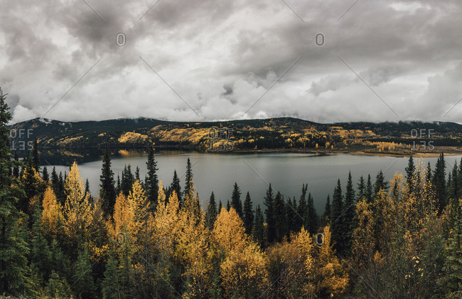 Canada- British Columbia- Kitimat-Stikine A- view from Highway 37- lake in autumn