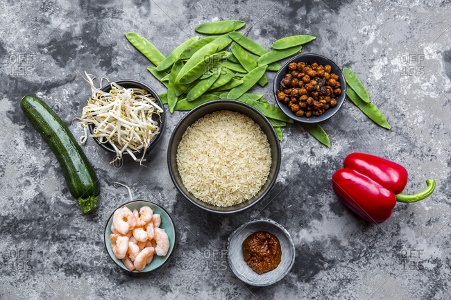 Ingredients for red curry with rice