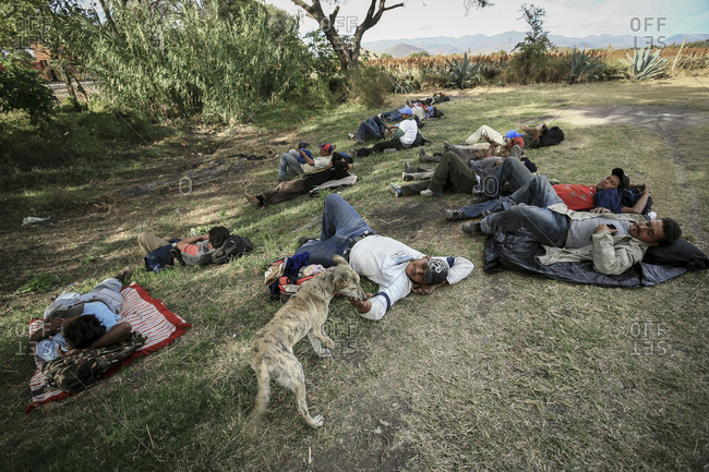 Northern Mexico - November 08, 2007: Group of migrants resting in a field on journey to get to border with United States of America