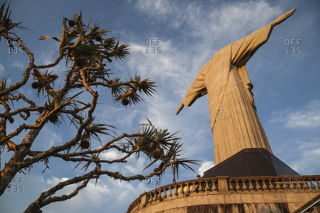April 6, 2018: Low Angle View Of Christ The Redeemer Statue From Behind; Rio De Janeiro, Brazil