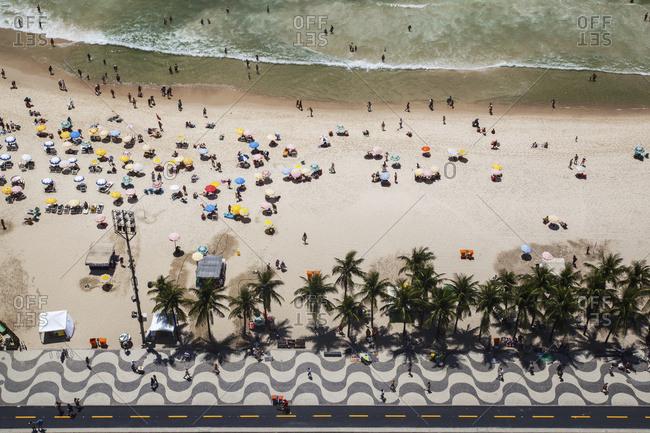 April 6, 2018: High Angle View Of Copacabana Beach; Rio De Janeiro, Brazil