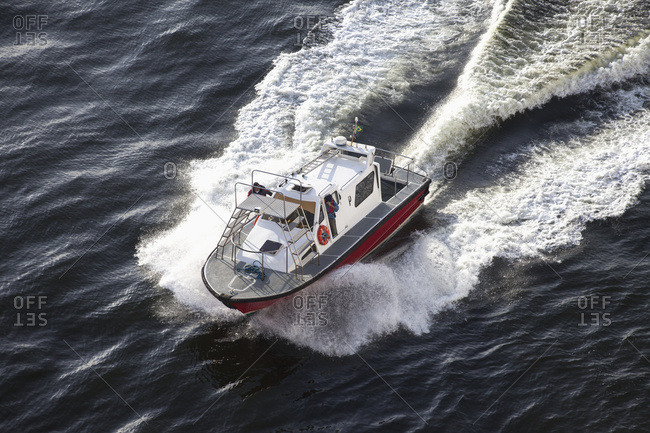April 6, 2018: High Angle View Of A Motorboat Traveling In The Water; Rio De Janeiro, Brazil