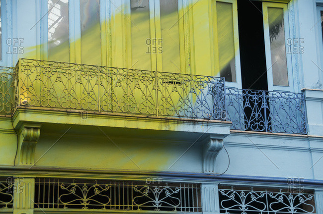April 6, 2018: A Blue Building With A Painted Yellow Streak Across It In The Lapa Neighborhood; Rio De Janeiro, Brazil