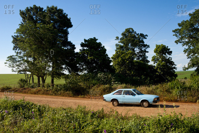 April 6, 2018: Old Fashion Car In Santa Barbara Do Sul, Rio Grande Do Sul, Brazil