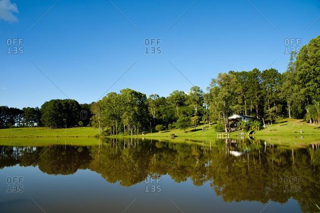 April 6, 2018: Reflection Of Trees In A Pond In Santa Barbara Do Sul, Rio Grande Do Sul, Brazil