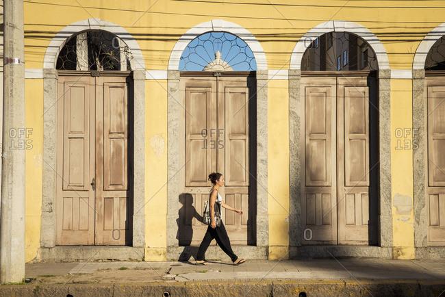 April 6, 2018: Brazil, Rio Grande Do Sul, Praca General Osorio; Pelotas, Young Woman Walking On Street
