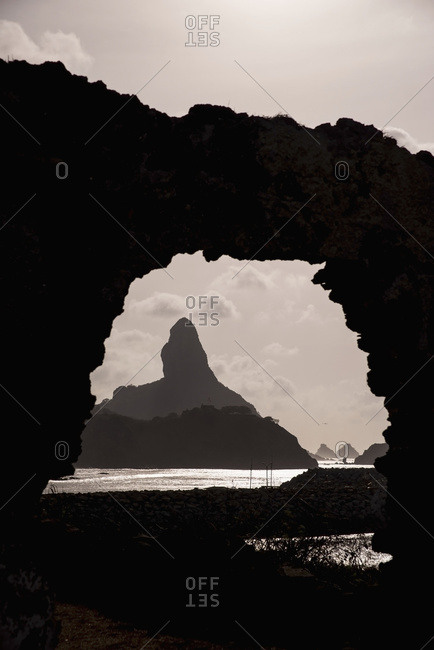 April 6, 2018: Brazil, Pernambuco, Views of Morro do Pico from ruins of Forte de Santo Antonio; Fernando de Noronha