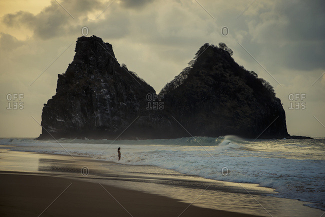 April 6, 2018: Brazil, Pernambuco, Views of Morro dos Irmaos from Praia do Boldro; Fernando de Noronha