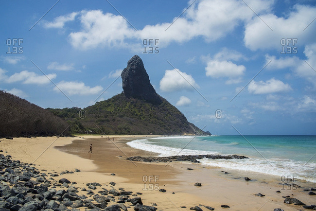 April 6, 2018: Brazil, Pernambuco, View of Morro do Pico and Praia da Conceicao; Fernando de Noronha