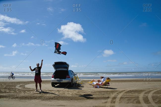 April 6, 2018: People On Casino Beach; Rio Grande Do Sul, Brazil